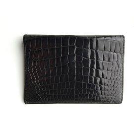 Hermès-Portefeuille Hermès Croco Noir Neuf-Noir