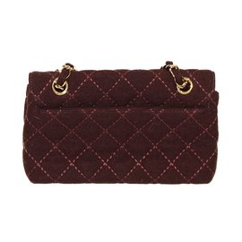 Chanel-Handbags-Dark red