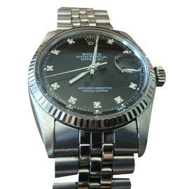 Rolex-DATEJUST INDEX DIAMANTS FOND NOIR unisexe 1974-Black