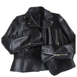 Balenciaga-biker peplum-Noir