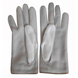 Hermès-gants nervures droites-Blanc