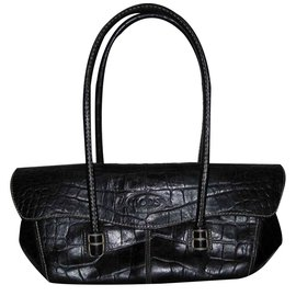 cdaf00db36c6 Tod s-TOD S CROC EMBOSSED LEATHER BAG-Black ...