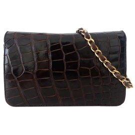 Chanel-vintage brown crocodile bag-Brown