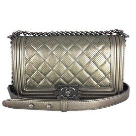 Chanel-Chanel Boy Bronze Perforated Medium-Bronze