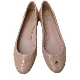Tory Burch Kent Ballerina Beige Gold Logo Reva Leather Ballet Flats Shoe 10-40