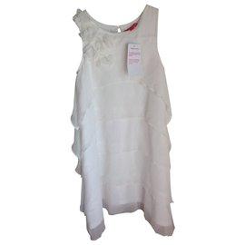 Autre Marque-Robe blanche à volants mousseline-Blanc