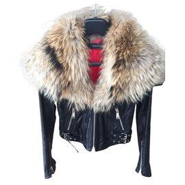 Dsquared2-Manteau avec col en fourrure-Noir