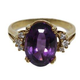 Bucherer-Bague or, diamants et amethyste-Doré