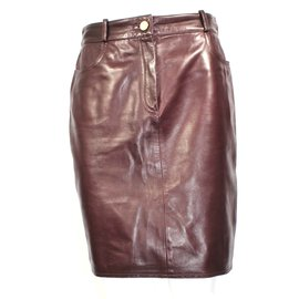 Céline-Leather skirt-Prune