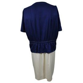 Balenciaga-Robe-Blanc,Bleu