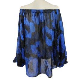 Yves Saint Laurent-Blouse-Noir,Bleu