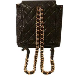 Chanel-Chain Quilted Leather Backpack-Black
