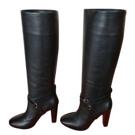 Hermès-Bottes Cuir-Noir