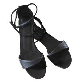 Hermès-Sandales veau lisse et chèvre velours-Noir