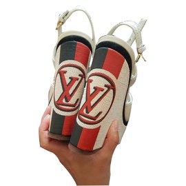 Louis Vuitton-Mules compensées-Beige