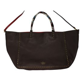 Valentino Garavani-Rockstud Tote GM reversible-Brown,Red