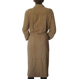 Hermès-Manteau en daim Hermès-Beige