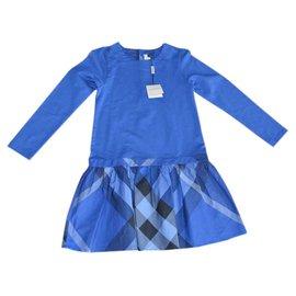 Burberry-Robes fille-Bleu