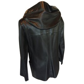 Céline-Leather coat-Black