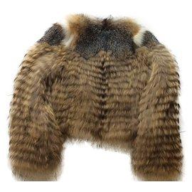Yves Salomon-fourrure de renard et marmotte-Gris