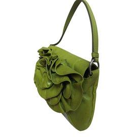 Yves Saint Laurent-Fleur cuir vert pistache-Vert