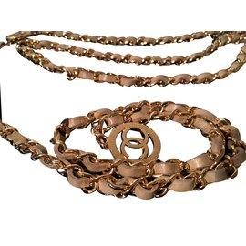 Chanel-Ceinture métal doré et cuir-Doré