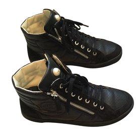 Chanel-Sneakers Noirs-Noir