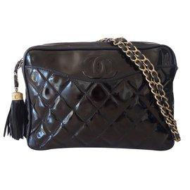 Chanel-CAMERA VINTAGE POMPON-Noir