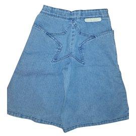 Stella Mc Cartney-Jupe pantalon denim-Bleu