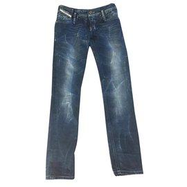 Diesel-Pantalon fille-Bleu