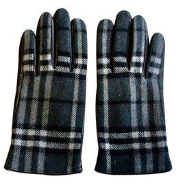 Burberry-Gants cuir et laine check-Noir