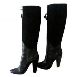 Costume National-Black high heel boots-Black