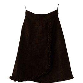 Chanel-Tweed brown skirt-Brown