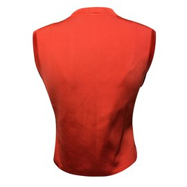Hermès-Gilet imprimé-Orange
