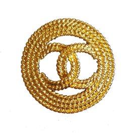 Chanel-Broche CC-Doré