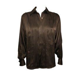 Chanel-Silk shirt + Chanel cufflinks-Chocolate