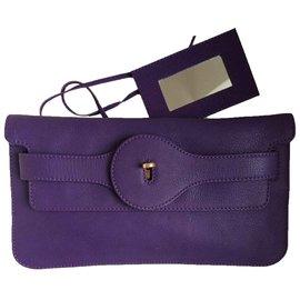 Balenciaga-Pochette en cuir violet-Violet