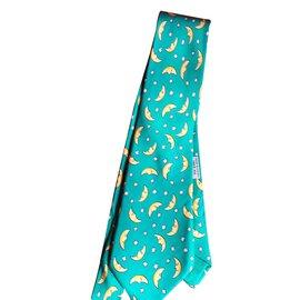 Hermès-Cravate avec lunes et étoiles blanches-Vert