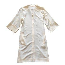 Hermès-Robe soie-Blanc