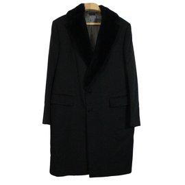 Ermenegildo Zegna-Mink collar Cashmere Coat-Black