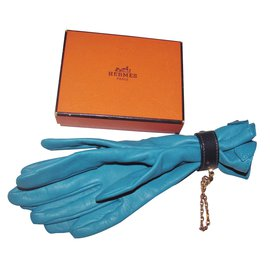 Hermès-Gloves-Blue