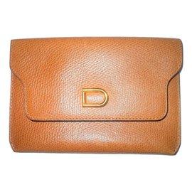 Delvaux-Vintage portecartes en cuir-Marron