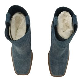 Chanel-Boots Jean T39C + Facture-Bleu