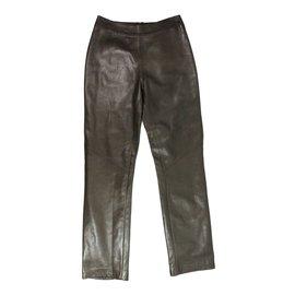 Gucci-Pantalon cuir-Marron