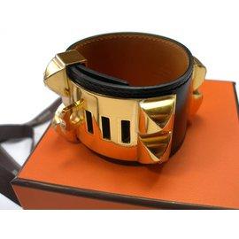 Hermès-Bracelet Collier de chien Hermès-Noir