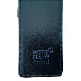 Montblanc-large black leather case f-Black