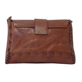 Chloé-Chain Buckled Shoulder Bag-Brown