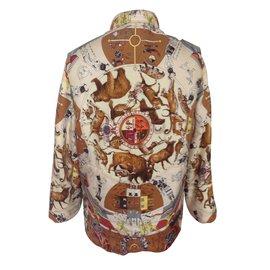 Hermès-Veste doudoune-Multicolore