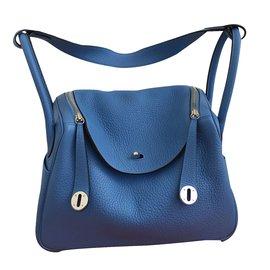Hermès-Sac Hermes Lindy 30-Bleu