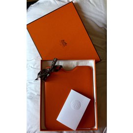 Hermès-Case IPad Orange Cuir Swift Neuf-Orange